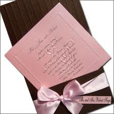 Brun,lyserød invitation
